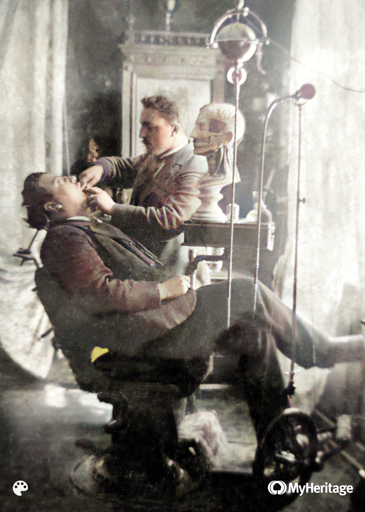 Historisches Foto von Dentist und Vorfahre Karl Merk, Urgroßvater von Herrn Lang